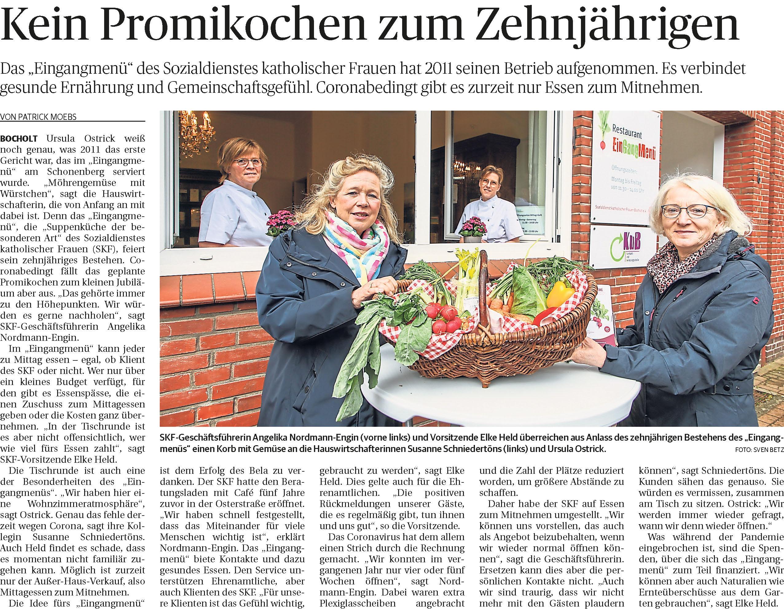 Zeitungsartikel Eingangmenü